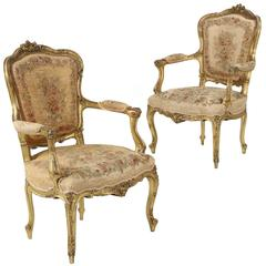 Pair of French Louis XV Style Antique Fauteuil Armchairs, circa 1870