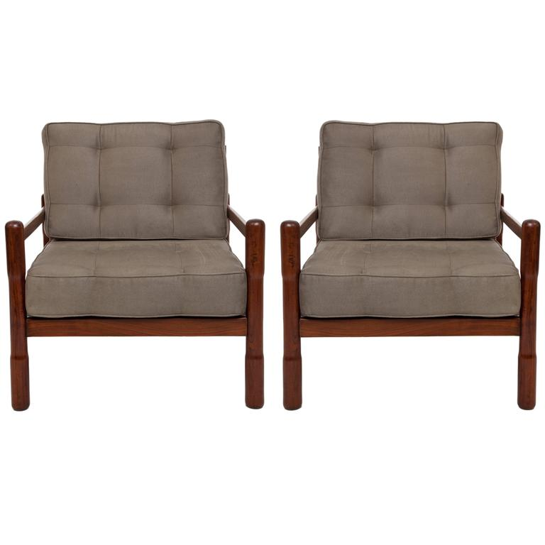 Pair of mid century brazilian caviuna armchairs in moss green polyester suede for sale at 1stdibs - Brazilian mid century modern furniture ...