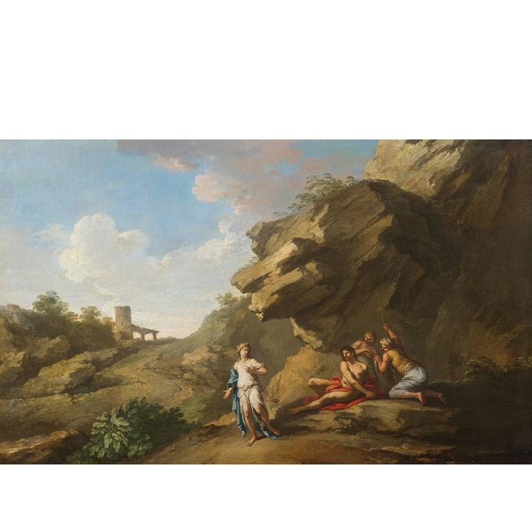 Andrea Locatelli, Italian/Roman Landscape with Figures Painting, 18th Century For Sale