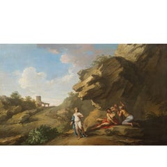 Andrea Locatelli, Italian/Roman Landscape with Figures Painting, 18th Century
