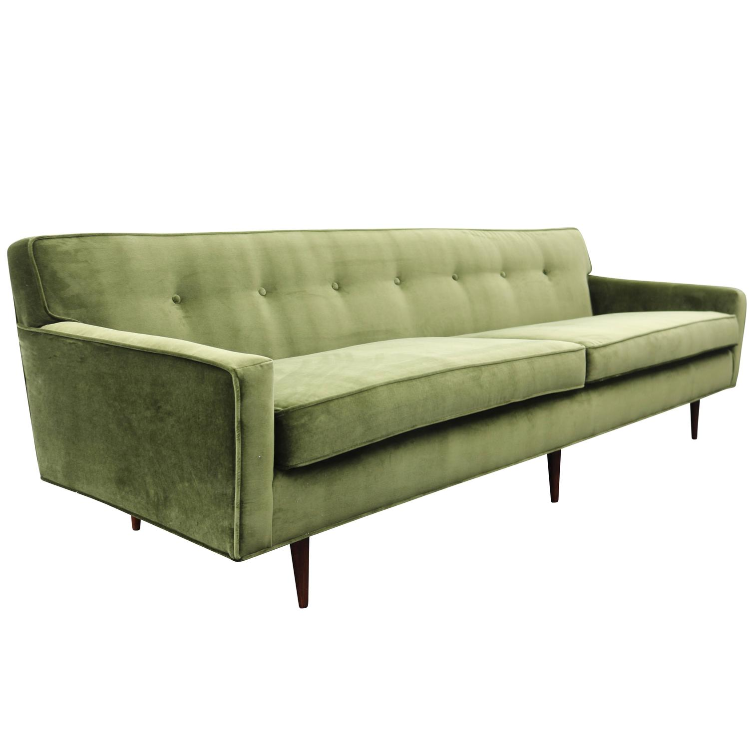 Gorgeous green velvet mid century modern sofa at 1stdibs for Modern furniture sofa