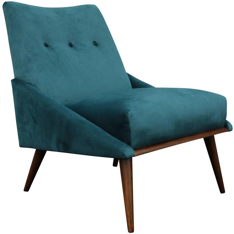 Peacock Velvet Mid-Century Modern Chair At 1stdibs