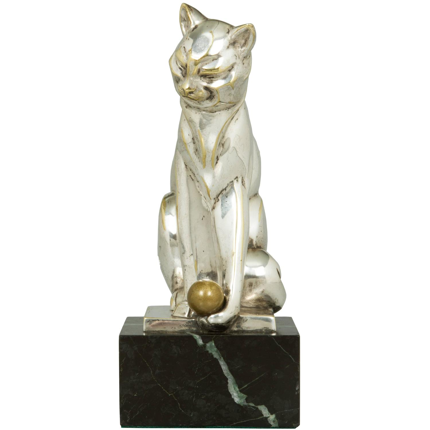 french art deco silvered bronze cat sculpture at 1stdibs. Black Bedroom Furniture Sets. Home Design Ideas