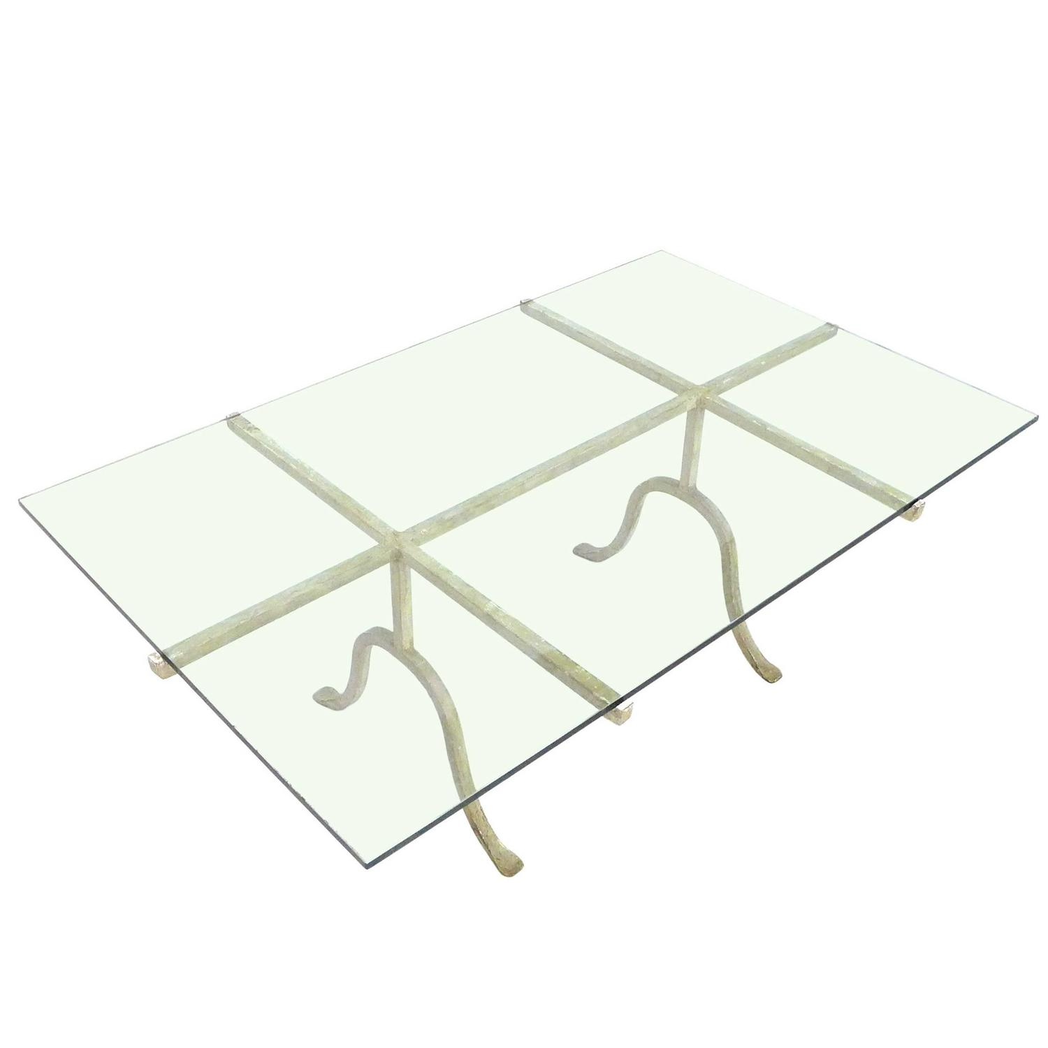 Wrought Iron And Glass Coffee Table At 1stdibs