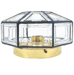 Pair of Iron and Clear Glass Lantern Flush Mount by Limburg