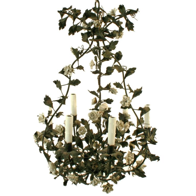 French Tole Chandelier with Porcelain Flowers, circa 1850