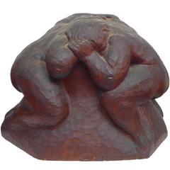 "Chip-Carved Wood ""Wrestlers"" Sculpture"
