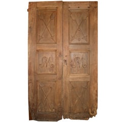 Antique entrance Walnut Double Door, to restored, '800 Italy