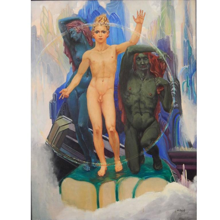 """Kublai Khan,"" Large Art Deco Painting Masterpiece with Male Nudes, 1943"
