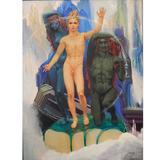 """""""Kublai Khan,"""" Large Art Deco Painting Masterpiece with Male Nudes, 1943"""