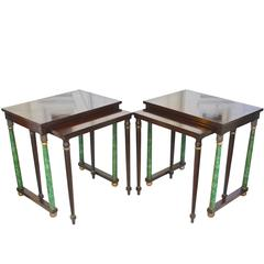 PAIR of Empire Revival Nesting End Tables