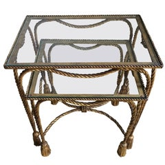 Pair of Gilt Nesting Tables with Rope and Tassel Detail