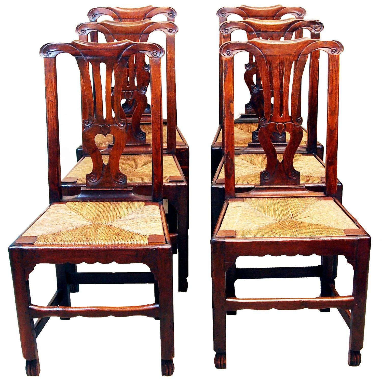 Antique Georgian Set Of Six Oak Dining Chairs At 1stdibs