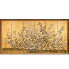 Japanese Screen White Chrysanthemums and Wild Grasses