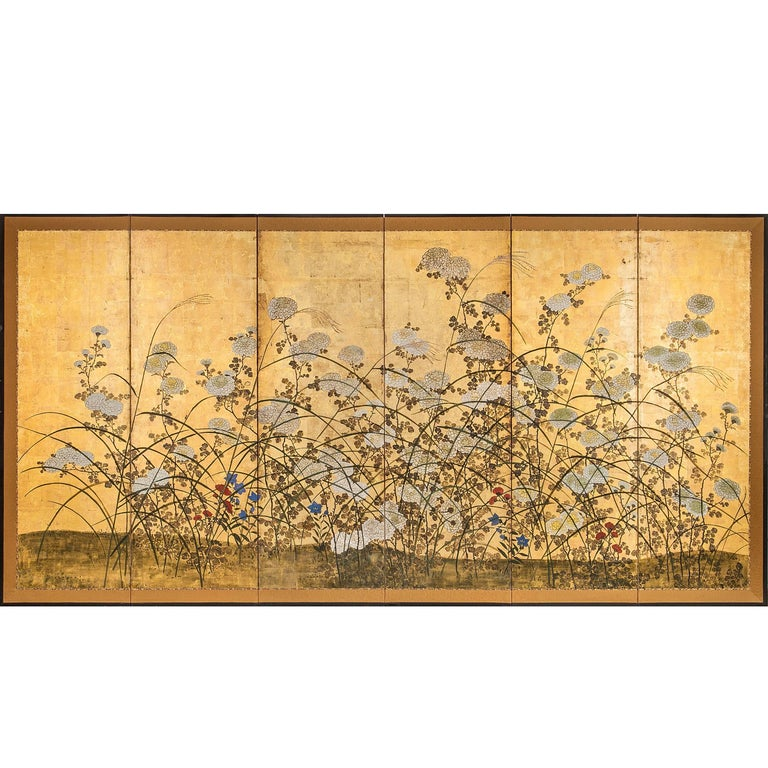 Japanese Screen White Chrysanthemums and Wild Grasses For Sale