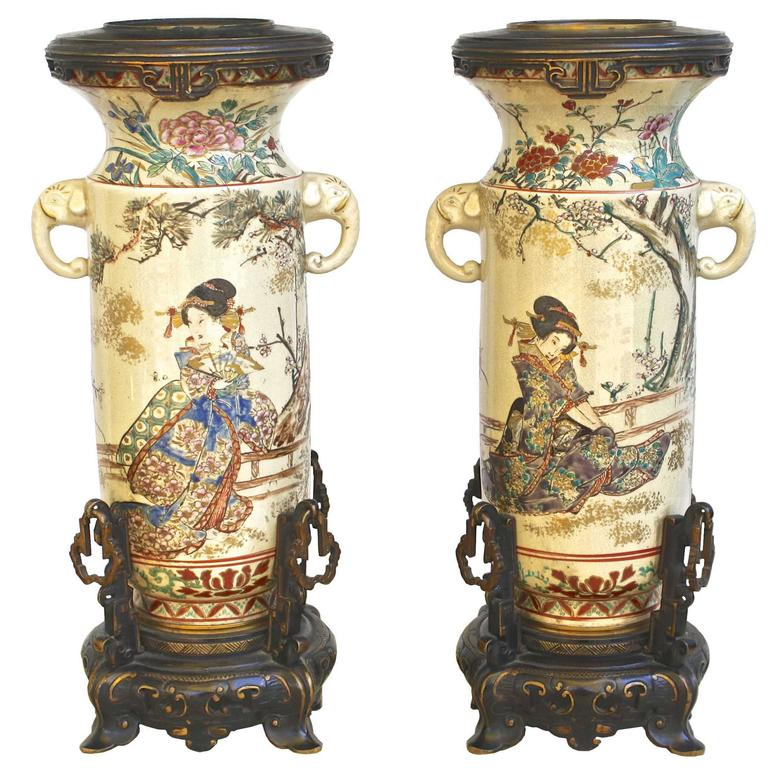 PAIR of Japanese Satsuma Vases For Sale