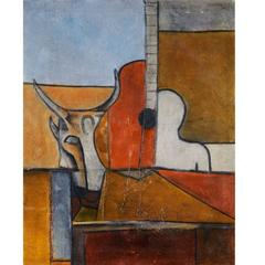 Latin American Cubist Modern Painting by Luis H. Padilla of Honduras, 1970