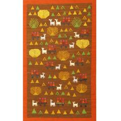 Whimsical Midcentury Vintage Swedish Kilim Folk Art Scandinavian Rug