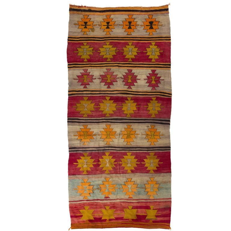 Vintage Turkish Flat Weave Rug: Vintage Turkish Flat-Woven Kilim Rug For Sale At 1stdibs