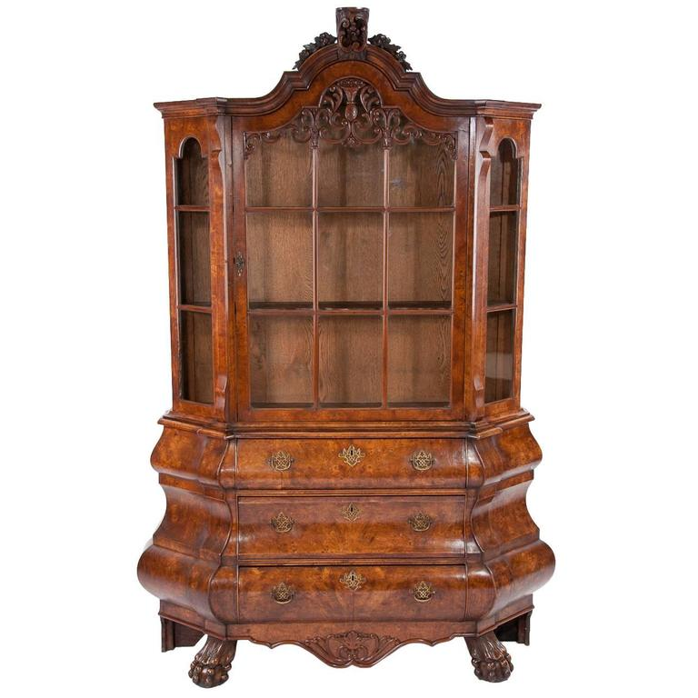 Awesome Antique Dutch Burr Elm Bombay Display Cabinet For Sale