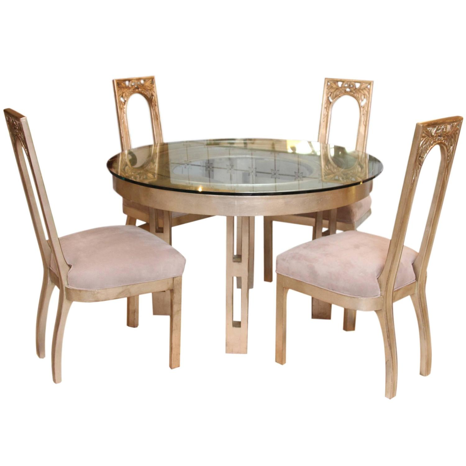 1960s Glazed Silver Leaf Round Dining Table And Four Chair Set By