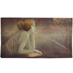 Art Deco Ceramic Bas-Relief by Montenave and Goldscheider