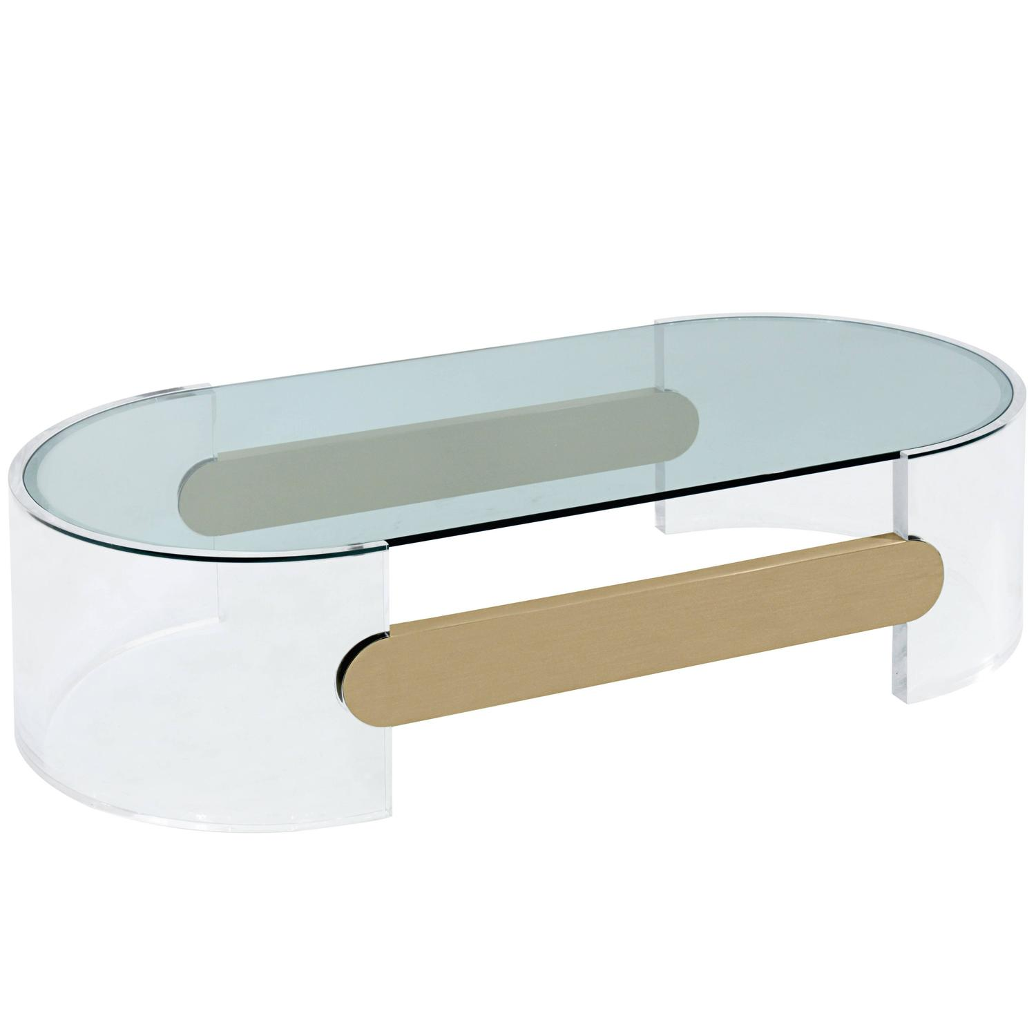 Coffee Table In Lucite With Brushed Brass Stretchers By Raymond Jurado For Sale At 1stdibs