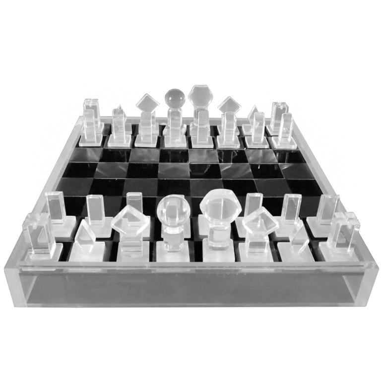 Lucite and Aluminum Chess Set, circa 1970s