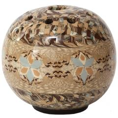 Small French Vallauris Clay Mosaic Vase by Ceramicist Jean Gerbino