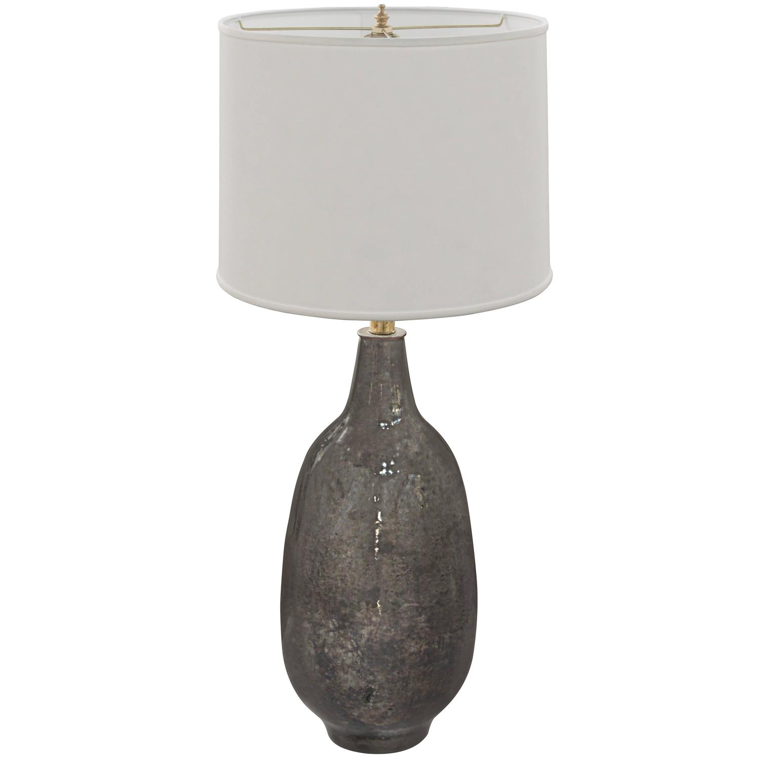 Hand Thrown Ceramic Table Lamp With Gunmetal Glaze By