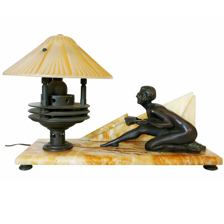 Art Deco Styled Italian Marble Desk Lamp with Bronze Nude