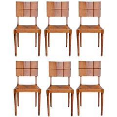 Set of Six Modernist Oak Dining Chairs with Rush Seats