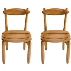 Pair of Oak Side Chairs by Guillerme et Chambron