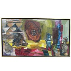 "1963 Cubist ""African Still Life"" Mixed-Media Assemblage Painting"