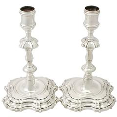 Pair of Sterling Silver Candlesticks by John Cafe, Antique George II