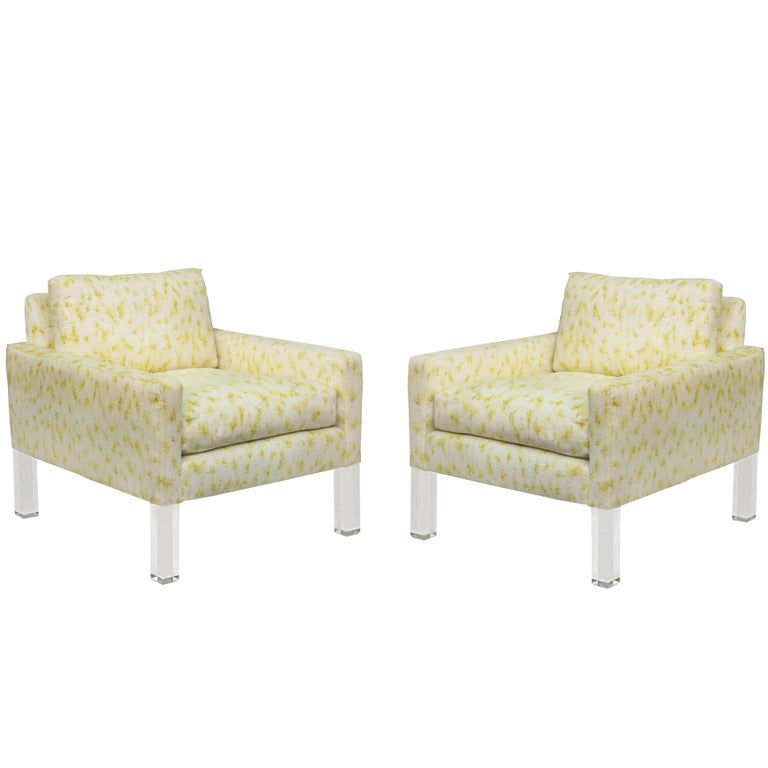 Pair of Modernist Club Chairs with Solid Lucite Legs For Sale