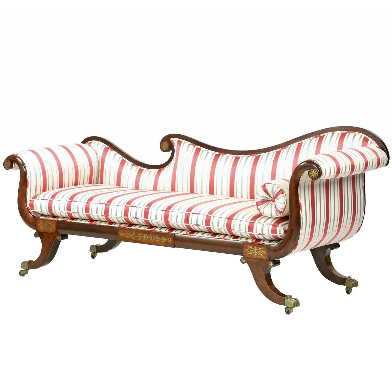 English regency brass inlaid antique recamier sofa chaise for Antique chaise sofa