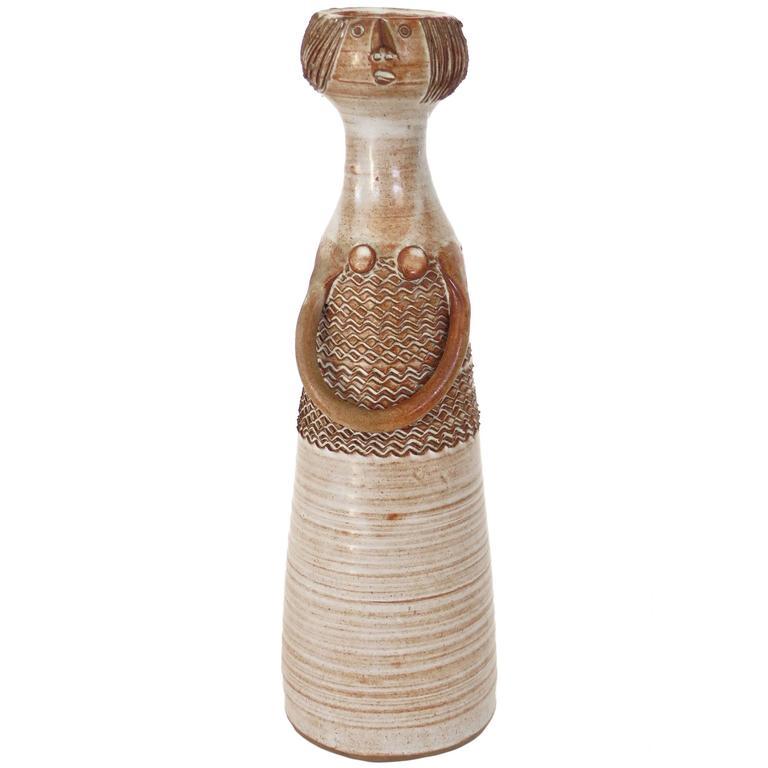 Ceramic Vase by French Ceramicist Jacques Pouchain Signed JP, Atelier Dieulefit