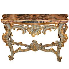 18th Century Venetian Rococo Pale Blue Polychrome and Parcel Gilt Console