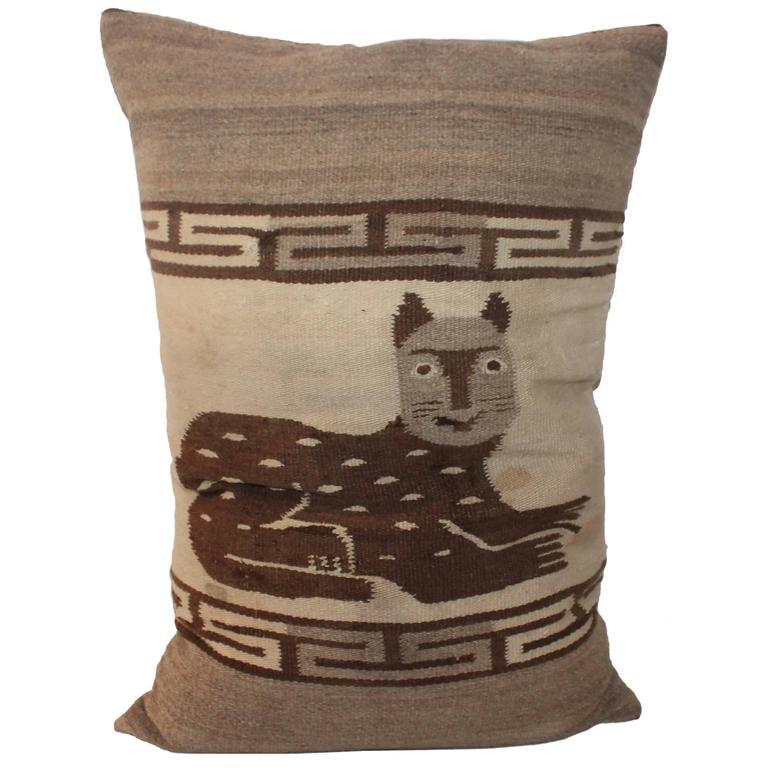 Folky Cat Indian Weaving Pillow