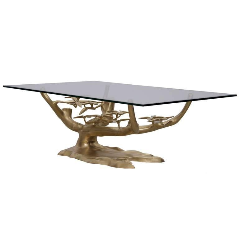 Solid Brass Coffee Table With Glass Top At 1stdibs