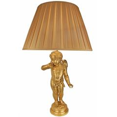 French 19th Century Ormolu Cherub Lamp, after a Sculpture by Pigalle