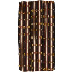 Banded Nomadic Turkish Flat-Woven Kilim Rug