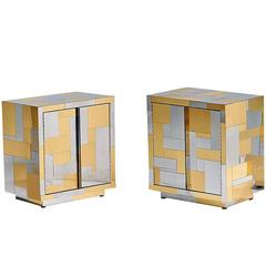 Pair of Cityscape Cabinets or Nightstands by Paul Evans for Directional