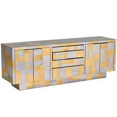 Large Cityscape Credenza in Brass and Chrome by Paul Evans