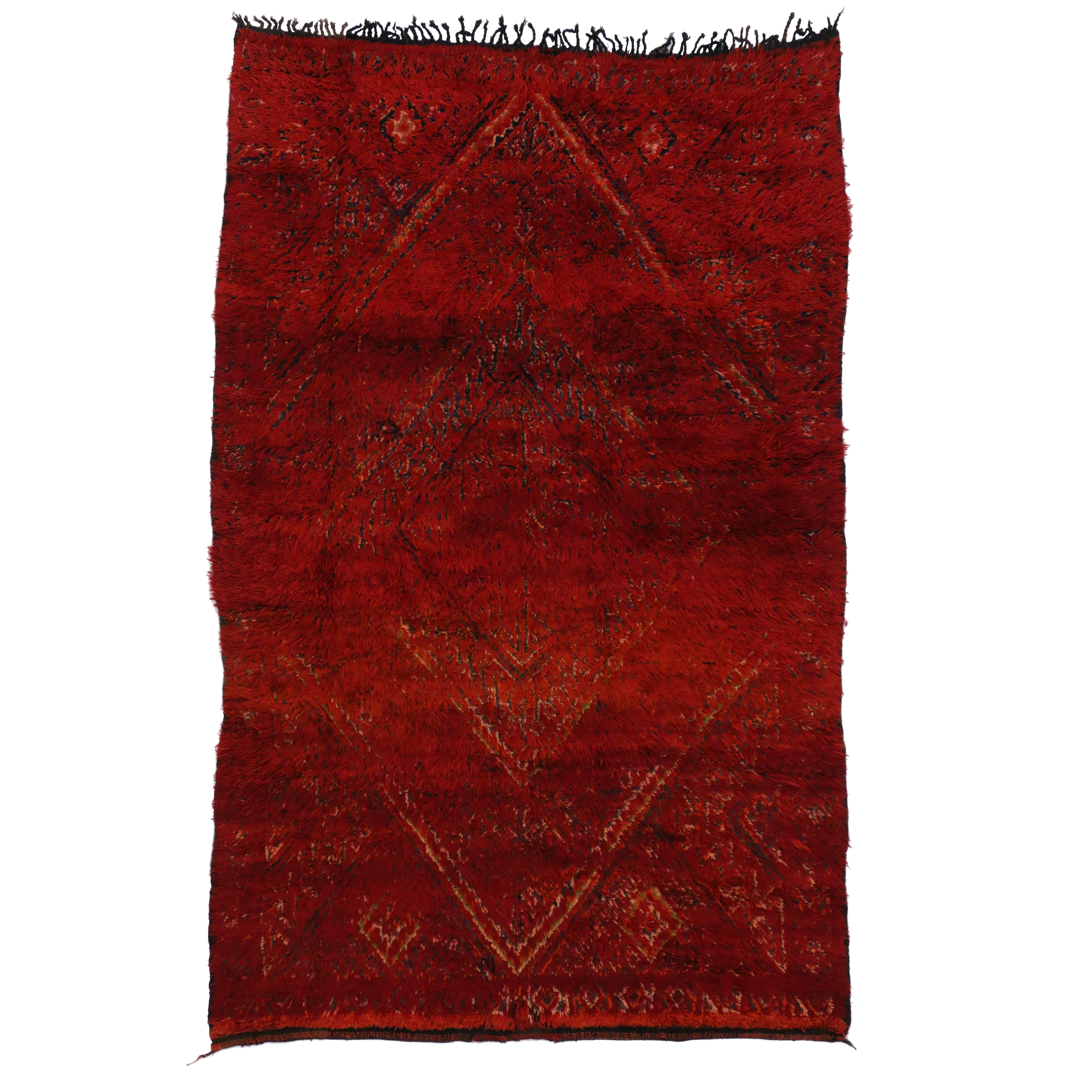 Vintage Berber Moroccan Rug with Luxe Bohemian Style, Red Moroccan Area Rug