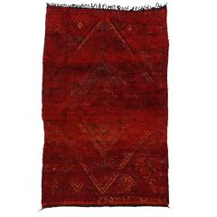 Mid-Century Modern Berber Moroccan Rug in Crimson Red