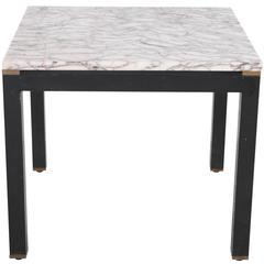Italian Striated Marble Parsons Side Table