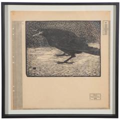 Vintage Woodblock Screeching Crow Print Signed by Jan Mankes