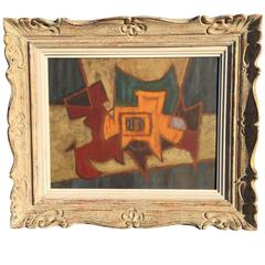 American Modernist Abstract 1930s Painting Indistinctly Signed
